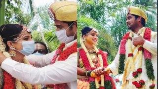 ಮಾಸ್ಕ್ ಧರಿಸಿ ದಾಂಪತ್ಯ ಜೀವನಕ್ಕೆ ಕಾಲಿಟ್ಟ ಚಿನ್ನು ಮತ್ತು ಚಂದನ್ | Filmibeat Kannadda