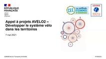 Webinaire de présentation de l'appel à projets AVELO2 – vendredi 07 mai 2021