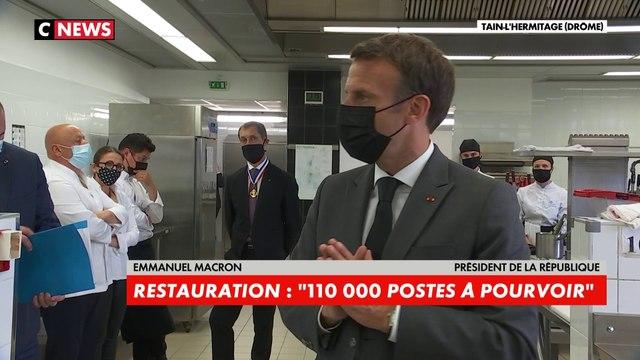 Emmanuel Macron : «Nous avons, dans le secteur de la restauration, environ 110.000 offres d'emploi à pourvoir»