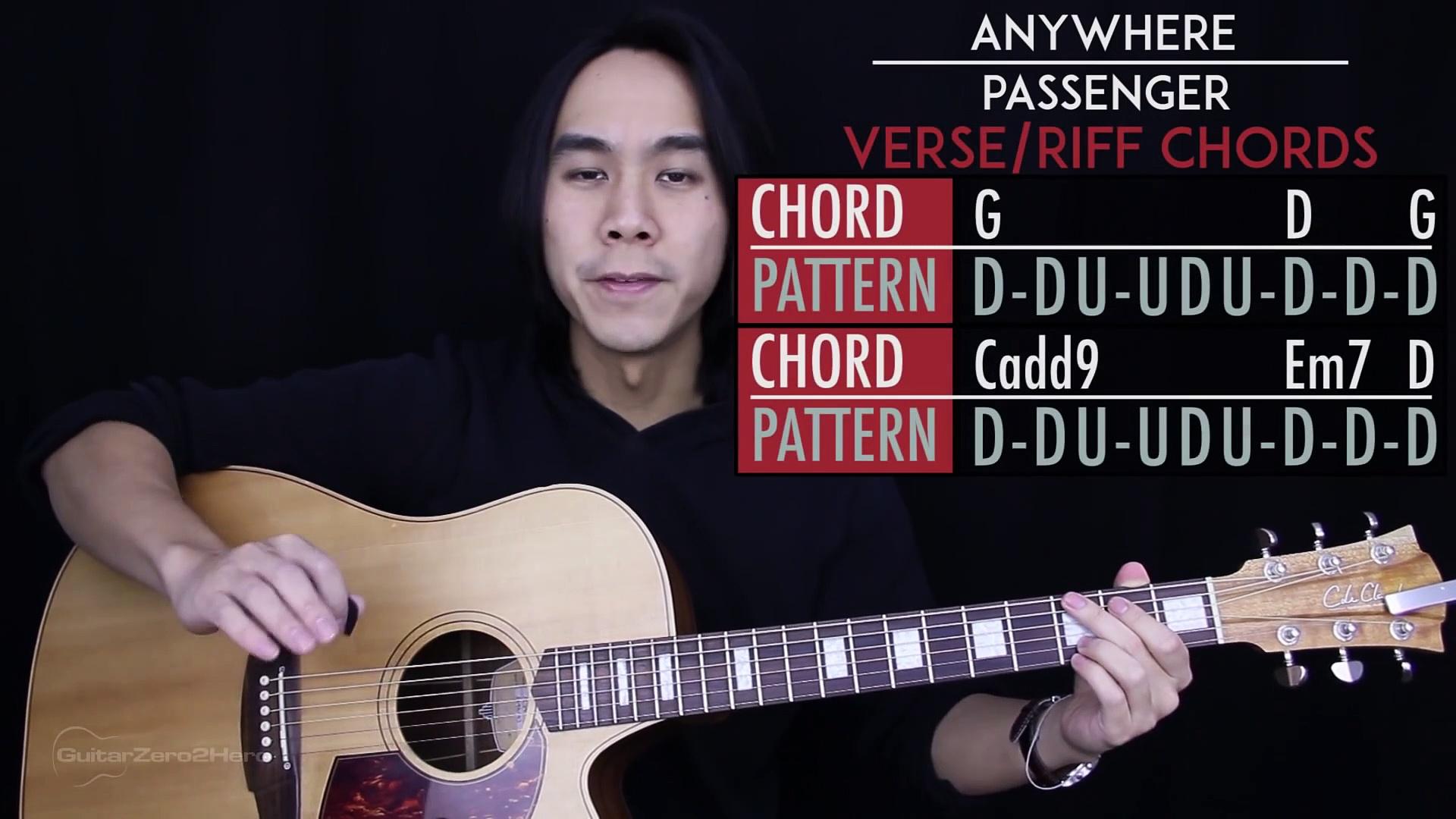 Anywhere Guitar Tutorial Passenger Guitar Lesson Tabs + Chords + Guitar Cover