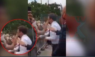 """Emmanuel Macron s'est fait gifler par un homme s'écriant """"À bas la macronie !"""", lors d'une visite à Tain ce mardi"""