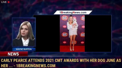 Carly Pearce Attends 2021 CMT Awards with Her Dog June as Her ... - 1BreakingNews.com