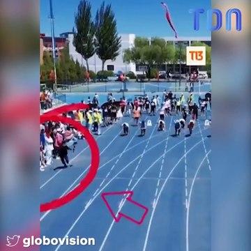 Un étudiant chinois arrive premier à un 100 m alors qu'il était juste censé filmer !