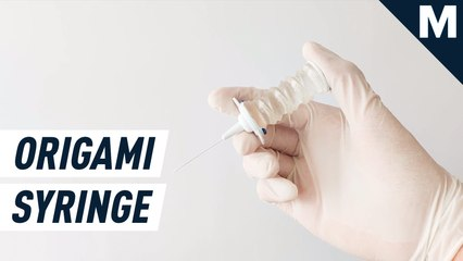 Origami vaccination syringe made entirely out of silicone