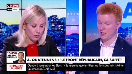 """Violent accrochage ce matin entre Adrien Quatennens et Laurence Ferrari : """"Je ne vous laisserai pas dire ça, vous insultez le travail de toute une rédaction"""""""