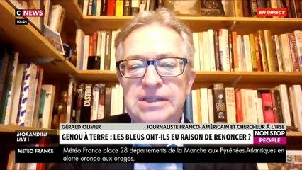 Quelle est l'explication historique du genou à terre et que signifie-t-il ? Le journaliste Gérald Olivier répond dans « Morandini Live » sur CNews - VIDEO