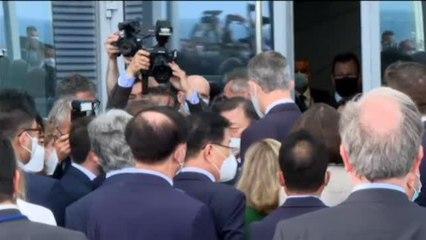 Breve encuentro de Pere Aragonès con el Rey en el Círculo de Economía