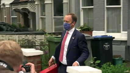 Hancock asked if he's going to resign as he leaves his home
