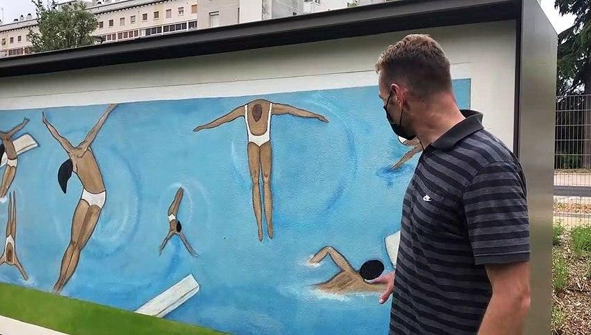 Sur le site du complexe aqualudique L'O, à Orléans, une fresque des prisonniers en souvenir de l'ancienne maison d'arrêt