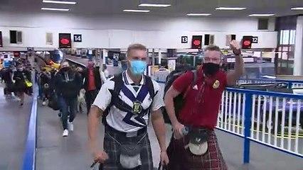 Tartan army arrive in London ahead of match against England