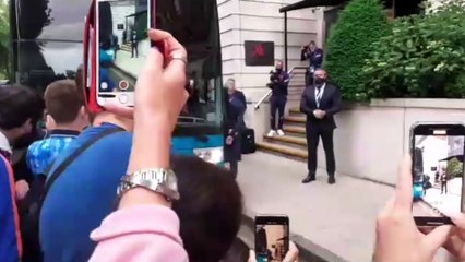 England football team arrive at their hotel in London ahead of their match against Scotland