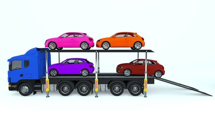 Colors for Children to Learn with Car Transporter Car Toys - Colours for Kids to Learn