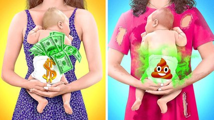 RICH PREGNANT VS BROKE PREGNANT Funny Pregnancy Moments by 123 GO! GOLD