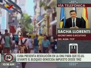 Sacha Llorenti: Los Pueblos del Mundo exigen el levantamiento del bloqueo financiero impuesto a Cuba