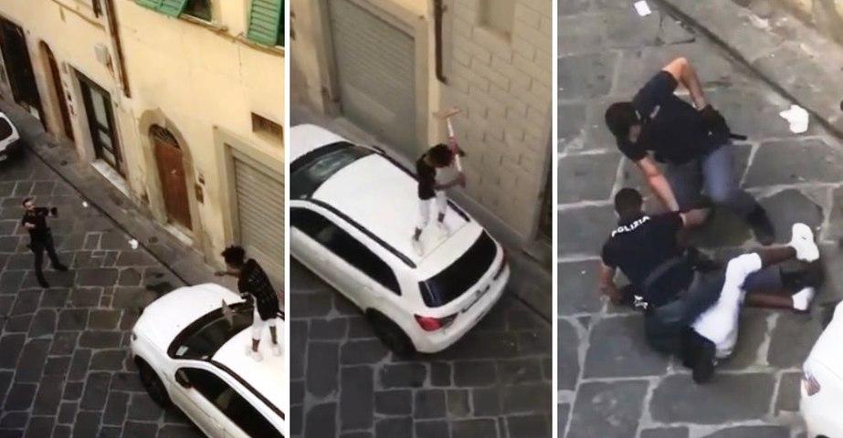 Firenze - Immigrato sale su tetto auto e la danneggia con palina in ferro: arrestato (24.06.21)