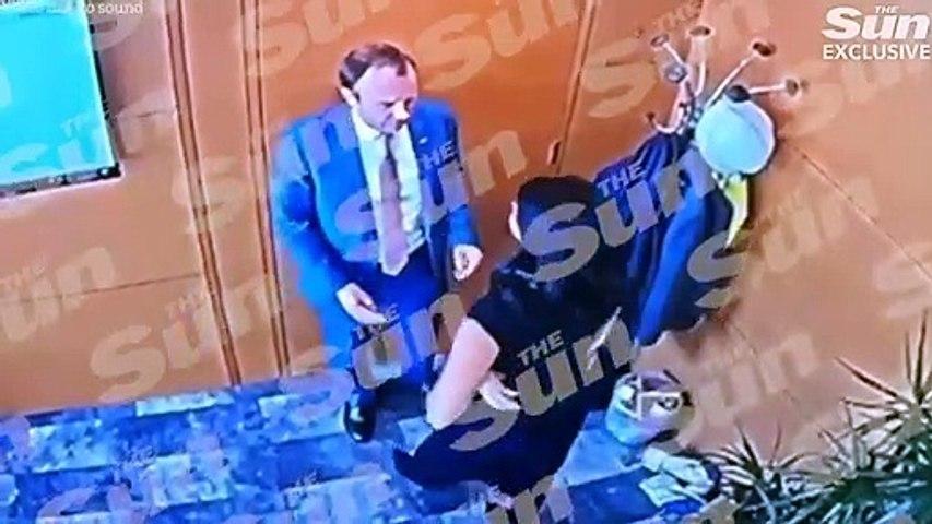 Matt Hancock UK health minister & mistress Gina Coladangelo caught on cctv kissing & groping each other