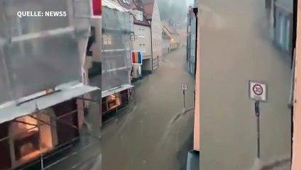 Starkregen setzt Landshut unter Wasser