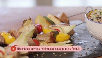 Brochettes de veau marinées à la sauge et au fenouil
