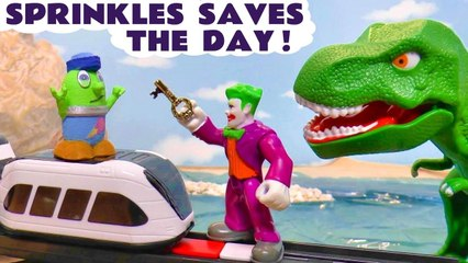 Funny Funlings Ice Cream Rescue with Dinosaur Toys for Kids and Smart Intellino train plus DC Comics Batman in this Stop Motion Animation Video for Kids from Kid Friendly Family Channel Toy Trains 4U