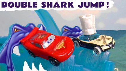 Hot Wheels Shark Jump with Disney Pixar Cars 3 Lightning McQueen versus Hot Wheels Cars Marvel Avengers and PJ Masks in this Family Friendly Full Episode Funlings Race Video for Kids  by Toy Trains 4U