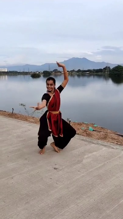 Dancer Performs Indian Classical Dance By Lake