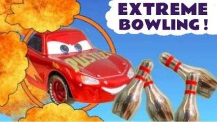 Disney Cars Frank and Lightning McQueen Extreme Bowling Challenge in this Hot Wheels Funlings Race Competition Video for Kids with PJ Masks and Marvel Avengers by Kid Friendly Family Channel Toy Trains 4U