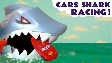 Hot Wheels Shark Racing with Disney Cars Lightning McQueen versus Marvel Avengers in these Funlings Race Challenge Videos for Kids from Kid Friendly Family Channel Toy Trains 4U