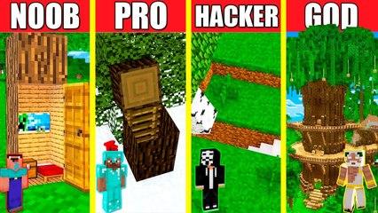Minecraft Battle_ INSIDE TREE HOUSE BUILD CHALLENGE - NOOB vs PRO vs HACKER vs GOD _ Animation WOOD