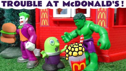 Marvel Avengers Hulk Toy with McDonalds Trouble with the Funny Funlings and Thomas and Friends in this Stop Motion Toy Episode Family Friendly Full Episode English Video for Kids from Toy Trains 4U