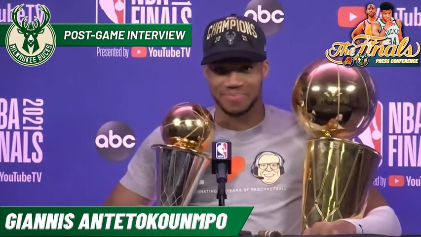 Giannis Antetokounmpo after winning 2021 NBA Championship and Finals MVP   Postgame Interview