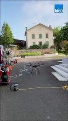 Un drone nettoie l'église de Pouillon
