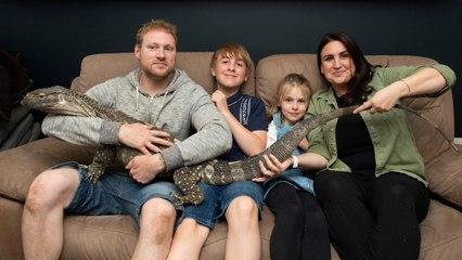 Familia británica tiene como mascota un lagarto del tamaño de un perro