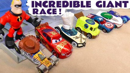 Giant Hot Wheels Cars Race with the Incredibles Toy in this Funny Funlings Race versus Disney Cars Lightning McQueen Full Episode English Toy Story Video for Kids from Kid Friendly Family Channel Toy Trains 4U