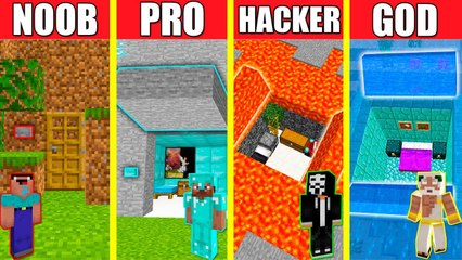 Minecraft Battle_ HIDDEN HOUSE BUILD CHALLENGE - NOOB vs PRO vs HACKER vs GOD _ Animation SECRET