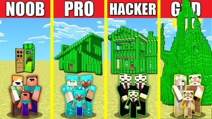 Minecraft Battle_ CACTUS HOUSE BUILD CHALLENGE - NOOB vs PRO vs HACKER vs GOD Animation SAND DESERT