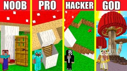 Minecraft Battle_ MUSHROOM HOUSE BUILD CHALLENGE - NOOB vs PRO vs HACKER vs GOD _ Animation INSIDE