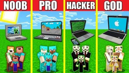Minecraft Battle_ MACBOOK HOUSE BUILD CHALLENGE - NOOB vs PRO vs HACKER vs GOD _ Animation IPHONE
