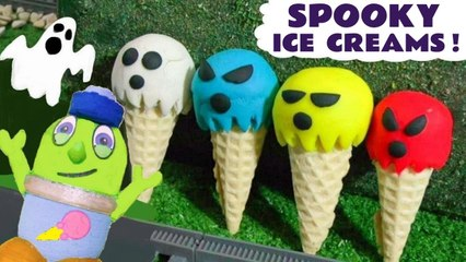 Funny Funlings Spooky Play Doh Ice Cream Fun with Halloween Ghost Toys and Thomas and Friends in this Stop Motion Animation Full Episode English Toy Story for Kids by  Kid Friendly Family Channel Toy Trains 4U