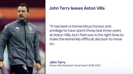 John Terry leaves Aston Villa after three years as assistant manager