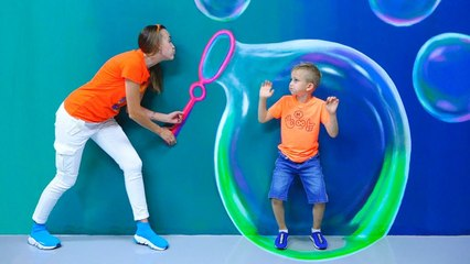 Vlad and Nikita have fun day in the Museum of illusions and the Dinosaur park