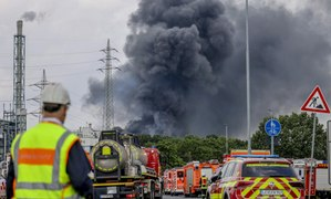 Smoke rises from site of explosion at German chemicals site