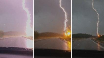 Gewitter in Schweden: Paar erlebt Schock auf der Autobahn