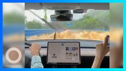 測試特斯拉性能?駕駛於洪水中硬要開車涉險