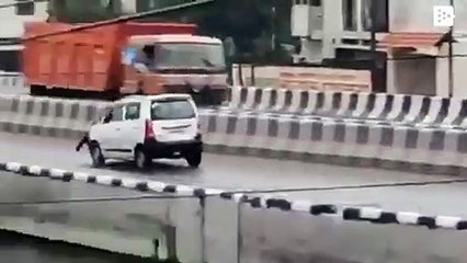 Man in Kanpur drags truck driver on car's bonnet
