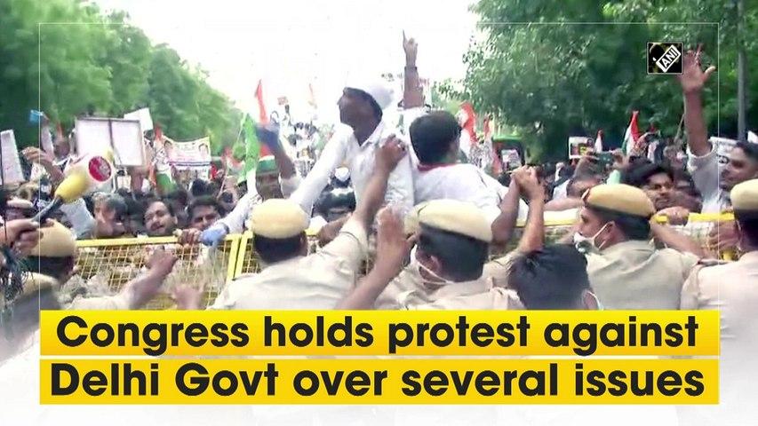 Congress protests against Delhi govt's 'Covid mismanagement'