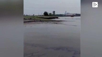 Un montículo de tierra se levanta desde el agua en un raro fenómeno natural