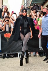 Lady Gaga Stepped Out in a Leotard, Turban, Blazer, and Sky-High Platform Boots