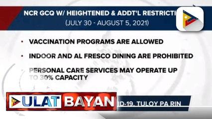 GCQ with heightened and additional restrictions sa NCR, epektibo mula ngayon hanggang Agosto 5; ECQ, ipatutupad sa NCR mula Agosto 6 hanggang 20