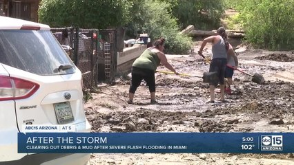 Cleanup underway after severe flooding in Miami, Arizona