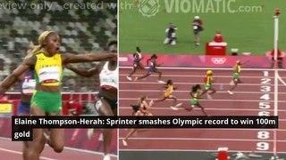 Elaine Thompson-Herah: Sprinter smashes Olympic record to win 100m gold